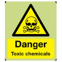 Danger Toxic Chemicals Sign (Photoluminescent)