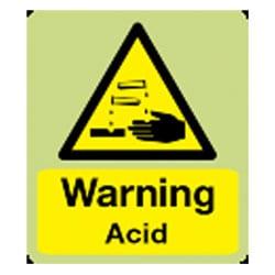 Warning Acid Sign (Photoluminescent)