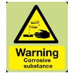 Warning Corrosive Substance Sign (Photoluminescent)