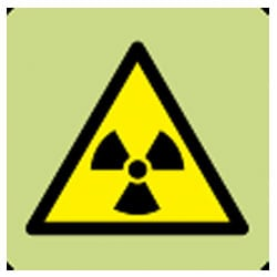 Danger Radioactive Material Symbol Sign (Photoluminescent)