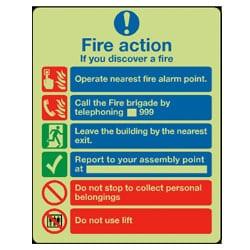 Fire Action Sign - Photoluminescent