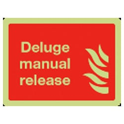 Deluge manual release Sign (Photoluminescent)