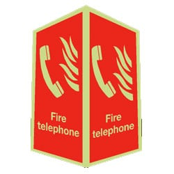 Fire Telephone Sign - Projecting (Photoluminescent)