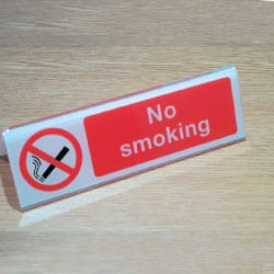 No smoking double sided desk Sign