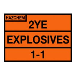 Hazchem 2YE Explosives 1-1 Sign (Type E)