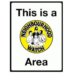 This is a Neighbourhood Watch Area Sign - White and Yellow