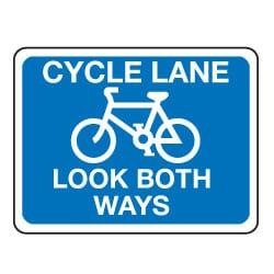 Cycle Lane - Look Both Ways Sign