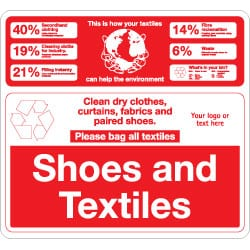 Shoes and Textiles Bin Recycling Sign