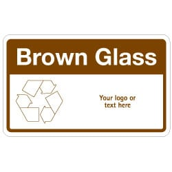 Brown Glass Bin Recycling Sign