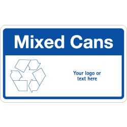 Mixed Cans Bin Recycling Sign