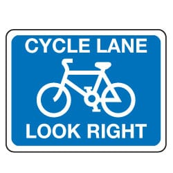 Traffic Signs - Cycle Lane Look Right Sign