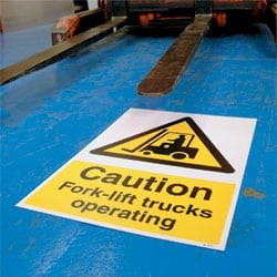 Floor Graphics - Caution Fork-lift trucks operating