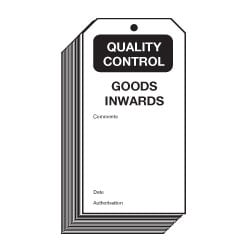 Goods Inwards Quality Control Safety Tags