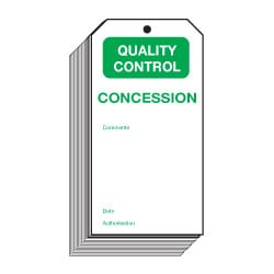 Concession Quality Control Safety Tags