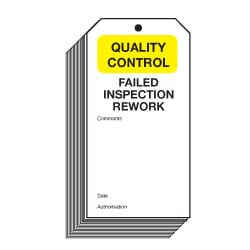 Failed Inspection Rework Quality Control Safety Tags
