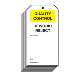 Rework/Reject Quality Control Safety Tags