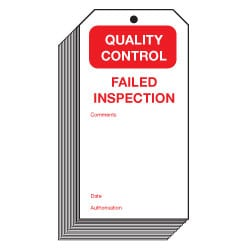 Failed Inspection Quality Control Safety Tags