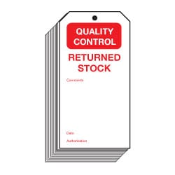 Quality Control Returned Stock Safety Tags