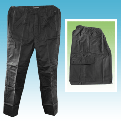 black combat work trousers