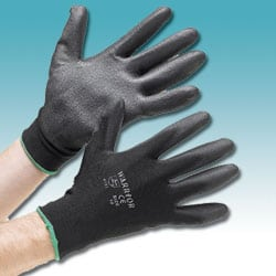 Black PU Coated Polyester Gloves