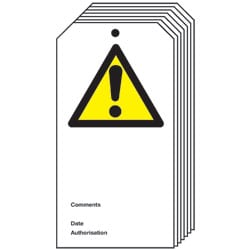 Caution Symbol Safety Tag - Pack of 10
