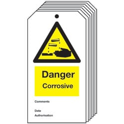 Danger Corrosive Safety Tag - Pack of 10