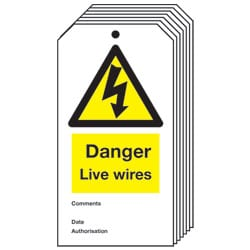 Danger Live wires Safety Tag - Pack of 10