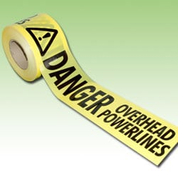 Barrier Tape - Danger Overhead Powerlines with warning symbol