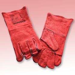 Red Leather Gauntlet Welders Glove