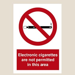 Electronic Cigarettes Are Not Permitted Sign