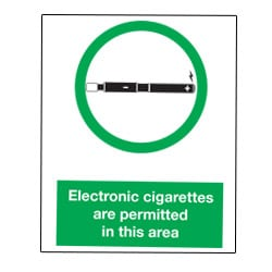 Electronic Cigarettes are permitted in this area Sign