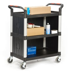 Proplaz 3 Shelf Trolley with High Quality Plastic Sides
