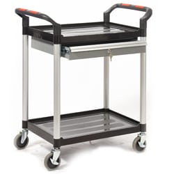 Proplaz 2 Shelf Trolley with a Lockable Steel Drawer