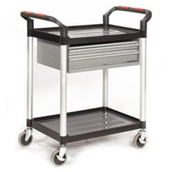 Proplaz 2 Shelf Trolley with 2 Steel Drawers