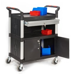 Proplaz 3 Shelf Trolley with a Lockable Steel Drawer and Cupboard