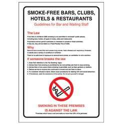 Guildlines for bar and waiting staff smoking Sign