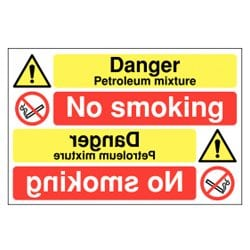 Danger Petroleum Mixture No Smoking Mirror Sign