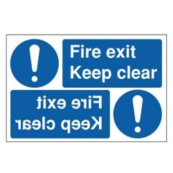 Fire Exit Keep Clear Mirror Sign