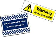 Anti climb signs