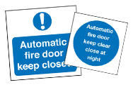 Automatic Fire Door Signs