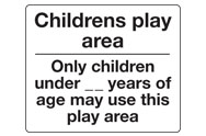 Childrens play area signs