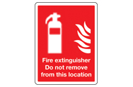 Do not remove fire extinguisher signs