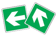 Emergency Escape Arrow Signs