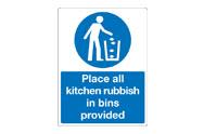 Kitchen Rubbish Bin Signs
