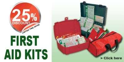 25% discount off first aid kits while stocks last