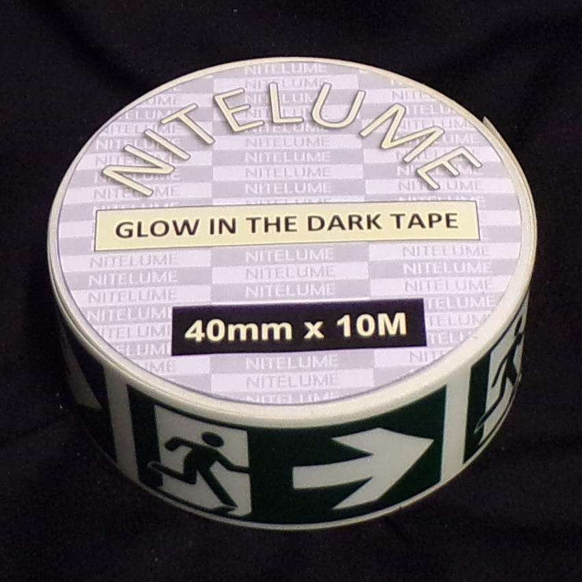 Glow in the dark exit right symbol with arrow - 40mm x 10M