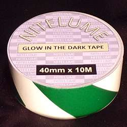 Glow in the dark green stripes - 40mm x 10M