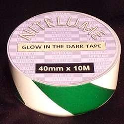 Glow in the dark green stripes - 40mm x 10M