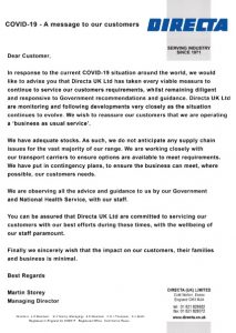 COVID-19 letter to customers