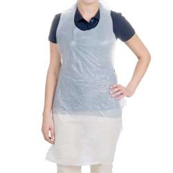 White Polythene Apron with Ties - Box of 500